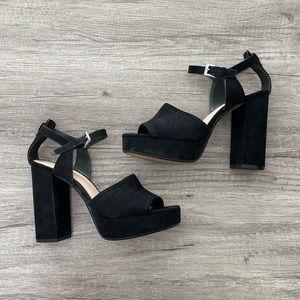 Zara Suede Platform Retro Heeled Sandals Size 8